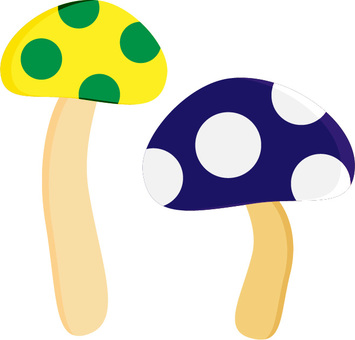 Mushroom 07 Yellow and Green Blue and White