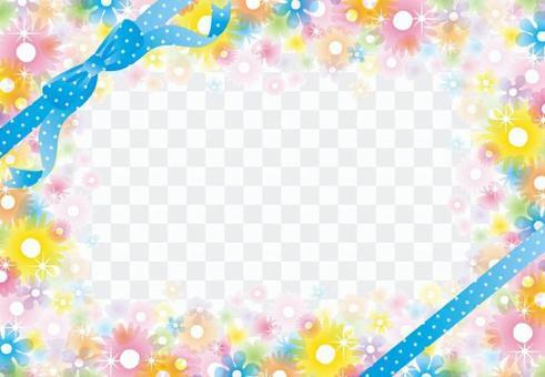 Glittering clear flower frame (blue ribbon)