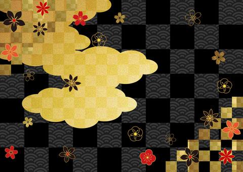 日本模式和clouds_black 格子背景2871