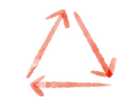 三角形箭頭水彩紅色