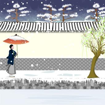 Castle town white wall wall samurai snow piled umbrella
