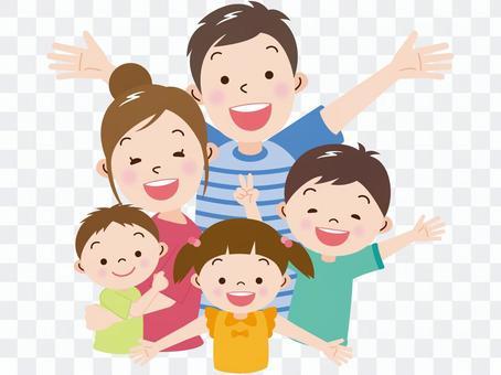 楽しそうな五人の家族夏バージョン