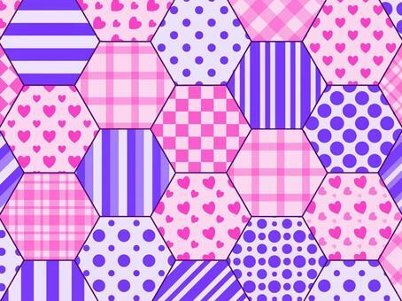 六角形拼布藍色紫色×藍色紫色