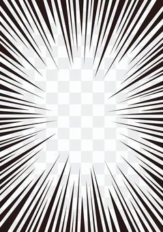 濃縮線·效果線(卡通)數據素材☆垂直黑白
