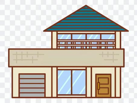 Blue roof house