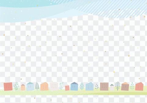簡單的背景,與排隊的房子