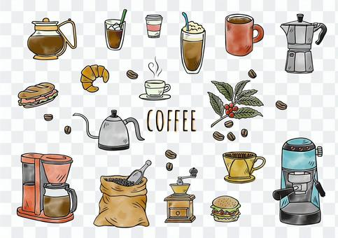 手繪插圖:咖啡具顏色