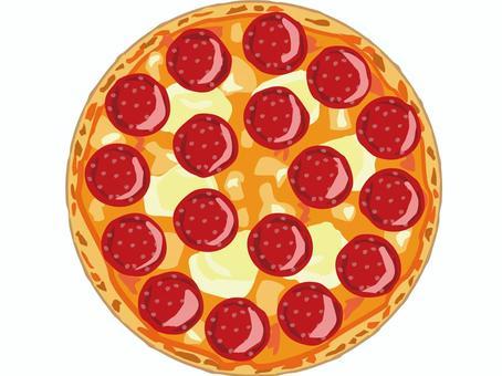 チーズとサラミのホールピザのイラスト