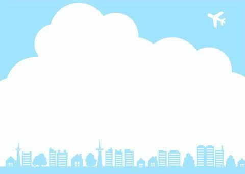 景觀框架邊界與藍藍的天空,飛機,樹木和建築物