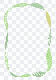 Green refreshing ribbon-like decorative frame