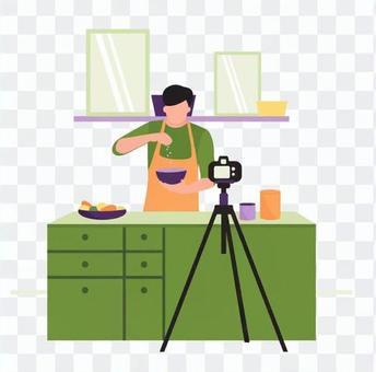 男子提供烹飪視頻