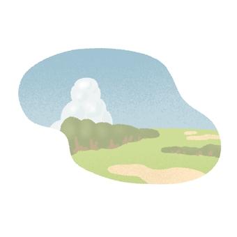 Golf course and cumulonimbus