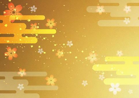 New Year _ sakura _ gold _ background
