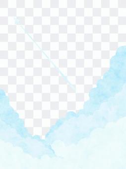 清新的夏日天空和蒸氣踪蹟的背景插圖