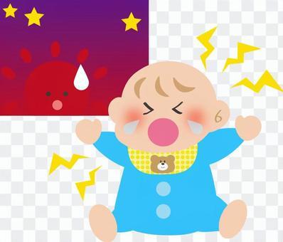 嬰兒在暮色中哭泣
