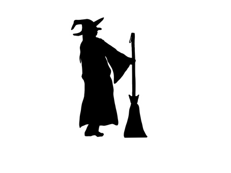 Silhouette of a witch standing with a broom Broom