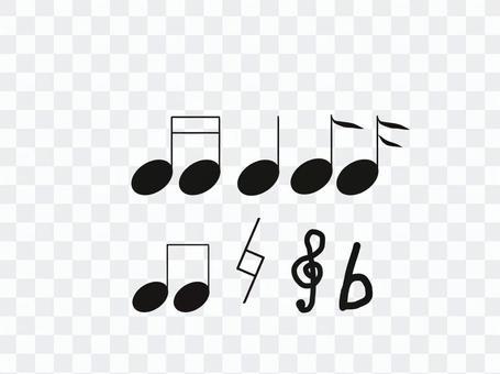 Musical note set black