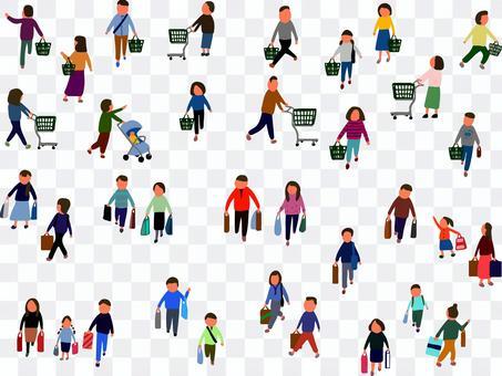 買い物する人々 素材集