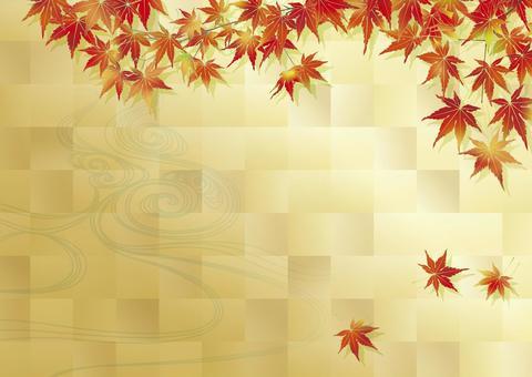 秋季葉子的季節水_鍍金水平尺寸