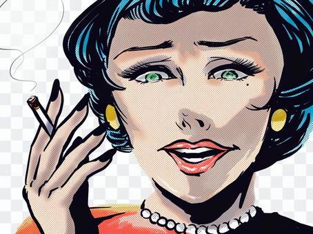 アメコミの熟女タバコを吸いながら脅す