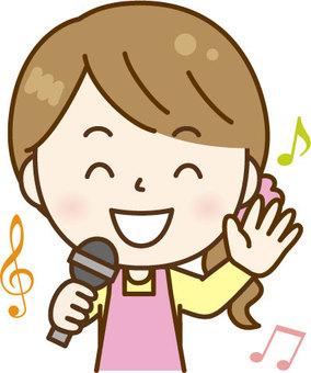 唱歌圍裙婦女粉紅色