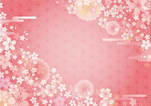 美しい桜の花と麻の葉の模様の背景フレーム