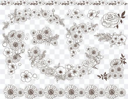 線條藝術花卉裝飾套裝