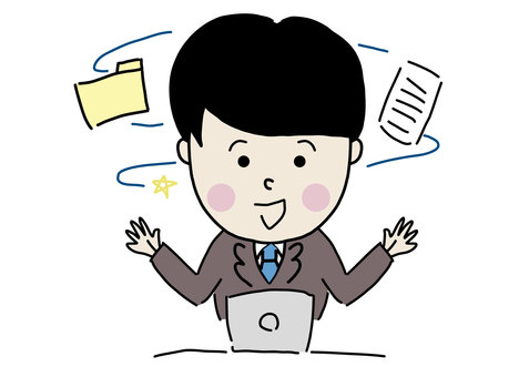 Office worker sharing files and materials