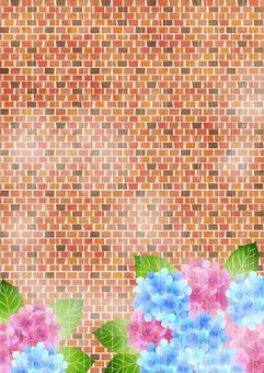 繡球和磚雨季背景垂直