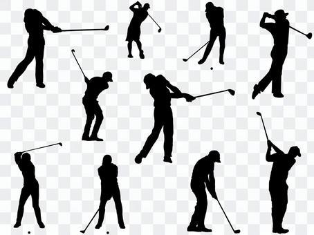 ゴルフ_シルエット_男子