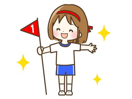 一個很高興在運動會上獲得第一名的女孩