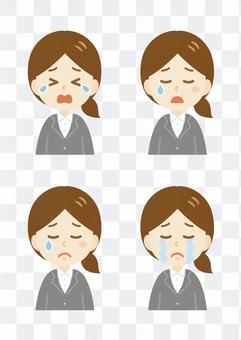 年輕的woman_suit_crying臉集