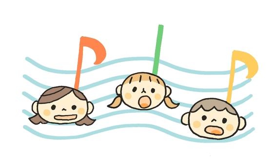 孩子們在音樂上唱歌