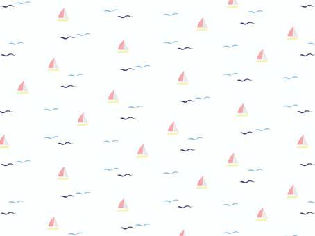水彩剪紙背景圖案)波浪和遊艇