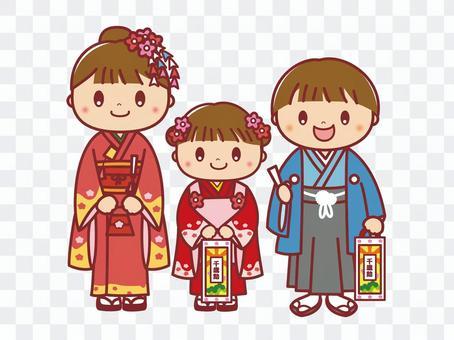 Shichigosan女孩男孩套裝