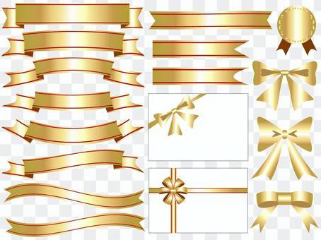 絲帶的圖標集黃金