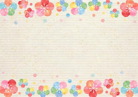 Ume _ Upper and lower frame _ Japanese paper background 1728