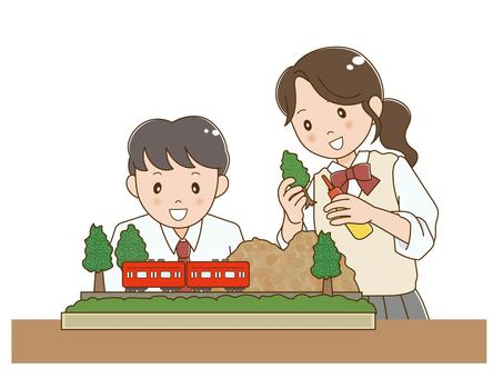 學生(男女)製作模型鐵路