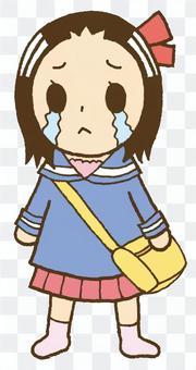 哭泣的製服女孩
