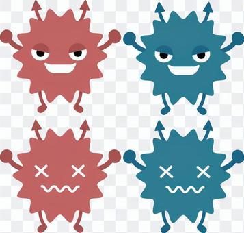 比基·病毒插圖(紅色和藍色)
