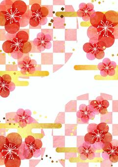 Watercolor plum-like flowers and checkered background vertical