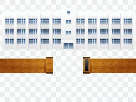 學校建築和學校門部分