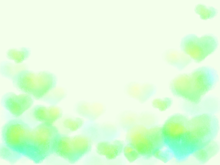 Watercolor heart background / frame (green)