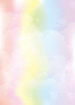 Seven-color empty background, A4 縦, 涂足付