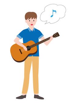 一個人彈吉他說話和說話