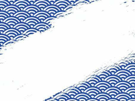毛筆書寫青海波浪填充背景:對角線:藏青色x白色