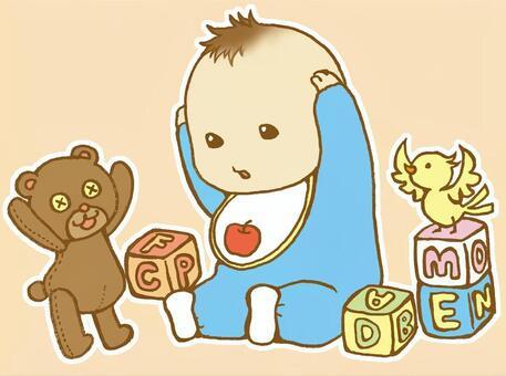 婴儿和毛绒玩具