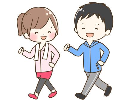 男人和女人微笑著走路