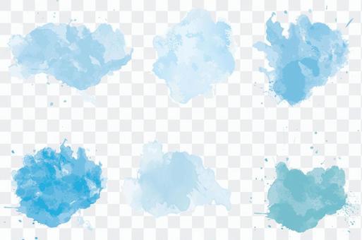 淡藍色的水滴水分水彩手寫圖標素材集