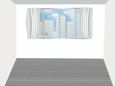 Room with a view of skyscrapers